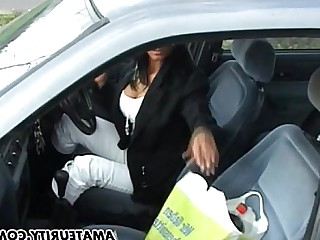 Amateur Big Tits Boobs Brunette Bus Busty Car Cougar