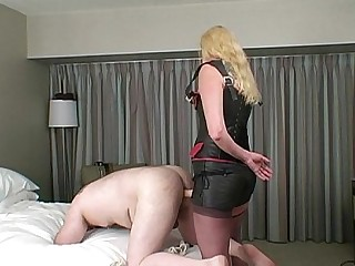 BDSM Blonde Dildo Slave Stocking Strapon Train Mistress
